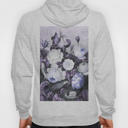 Periwinkle Roses Gray Birds Temple of Flora Hoody