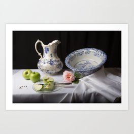 Delft blue china and apples still life Art Print
