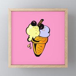 Hunger on ice cream Framed Mini Art Print