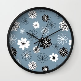 Black and White Flowers on Blue Wall Clock
