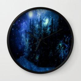 Galaxy Winter Forest Deep Blue Green Wall Clock