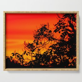 Silhouette of leaf with red autumn sky #decor #society6 Serving Tray