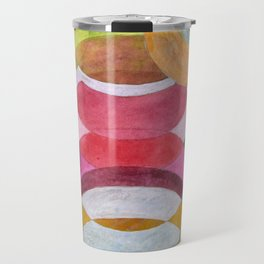Overlapping Ovals and Circles on Green Dotted Ground Travel Mug