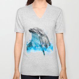 Dolphin Watercolor, Dolphin Painting, Dolphin Gift, Dolphin Poster, Dolphin Print, Dolphin Aquarelle Unisex V-Neck