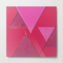 Pink Star Triangles 01 Metal Print