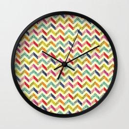 Chevron Multi Color Zigzag Pattern Wall Clock