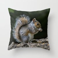 squirrel Throw Pillows featuring Squirrel by Fine Art by Rina