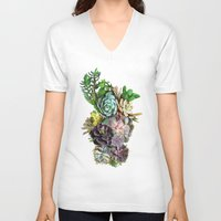 succulent V-neck T-shirts featuring Succulent gardens by Just Kidding