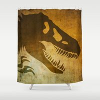 jurassic park Shower Curtains featuring Jurassic Minimalist by Ed Burczyk