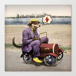 Barkin' Down the Highway! Canvas Print