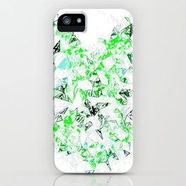 green heart shape abstract with white abstract background iPhone Case