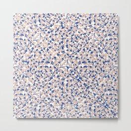 Leafy, Floral Prints, Pink and Blue, Boho Wall Art Metal Print