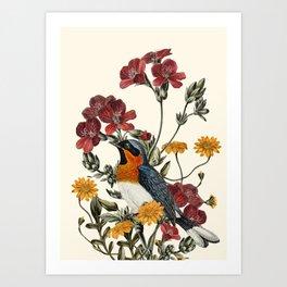Little Bird and Flowers Art Print