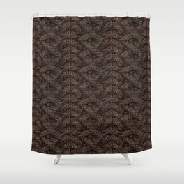 Brown Haka Cable Knit Shower Curtain