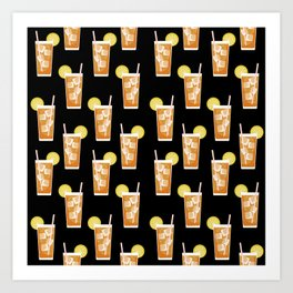 ice sweet tea summer southern stripes food fight apparel and gifts black Art Print