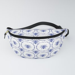 Vintage Shabby Chic Bees in Laurel Wreaths in Delft China Blue Fanny Pack