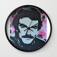 tom selleck Wall Clocks featuring Tom Selleck _ Who Wants A Moustache Ride? by cutanddestroy1