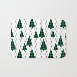 Christmas Tree forest minimal scandi dots plaid patterned holiday winter Bath Mat