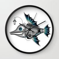 steam punk Wall Clocks featuring steam punk fish by Elena Trupak