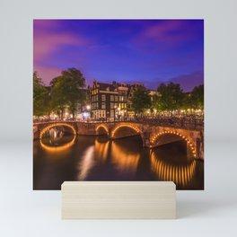 AMSTERDAM Idyllic nightscape from Keizersgracht and Leliegracht Mini Art Print