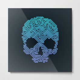 Labyrinthine Skull - Neon Metal Print