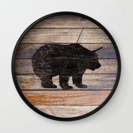 Rustic Bear Silhouette on Wood Country Art A231a Wall Clock
