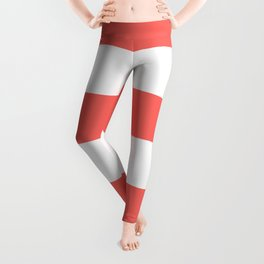 Wide Horizontal Stripes - White and Pastel Red Leggings