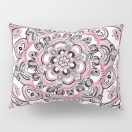 Magical Mandala in Monochrome + Pink Pillow Sham