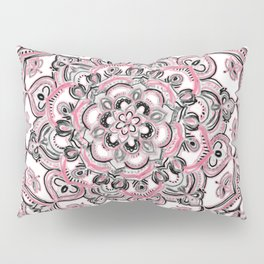 Magical Mandala in Monochrome + Pink Pillow Sham