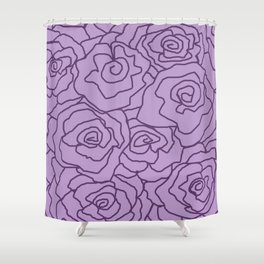 Lavender Dreams Roses - Light with Dark Outline - Color Therapy Shower Curtain