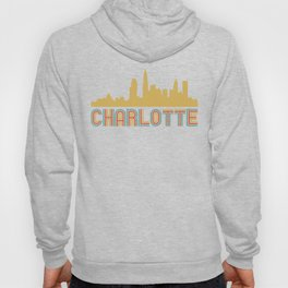Vintage Style Charlotte North Carolina Skyline Hoody