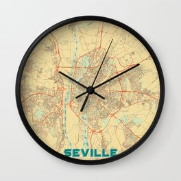 Seville Map Retro Wall Clock
