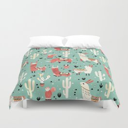 Llamas and cactus in a pot on green Duvet Cover