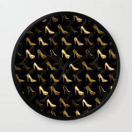 High Heels Golden Shoes pattern Wall Clock