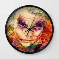 joker Wall Clocks featuring joker by mark ashkenazi