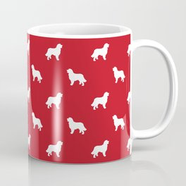 Bernese Mountain Dog pet silhouette dog breed minimal red and white pattern Coffee Mug