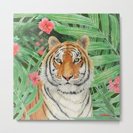 Tiger with flowers Metal Print