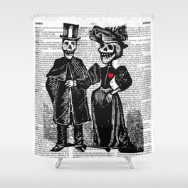 Calavera Couple | Skeleton Couple | Calaveras | Vintage Couple | Victorian Gothic | Dictionary Text Shower Curtain