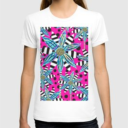 Pinwheel Flowers on Hot Pink T-shirt