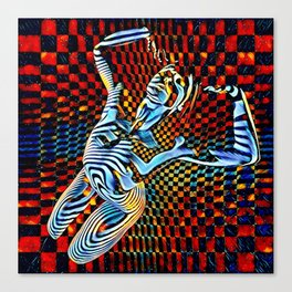 0465-MM_4533 Op Art Nude Blue Striped Figure over Checkerboard Canvas Print