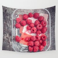 baking Wall Tapestries featuring Raspberries in plastic container on old metal baking tray by Elisabeth Coelfen
