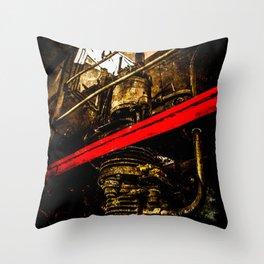 Vintage Steam Engine Locomotive - Air Pump Throw Pillow