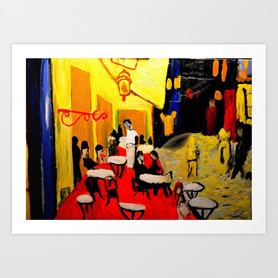 night at the cafe  Art Print