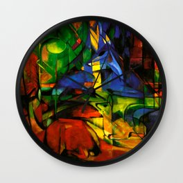 Deers in Wood by Franz Marc Wall Clock