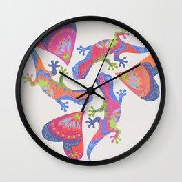 3 Gekkos Playing Wall Clock