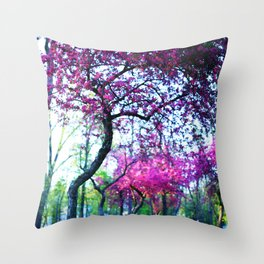 Pink flowering trees in the park Throw Pillow