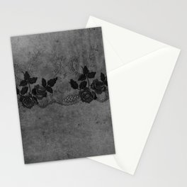 Pure elegance- Black floral luxury lace on dark grunge backround Stationery Cards