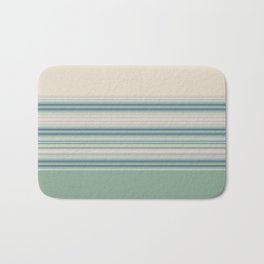 Mint Green Cream Stripes Bath Mat