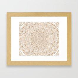 Brown Tan Intricate Detailed Hand Drawn Mandala Ethnic Pattern Design Framed Art Print
