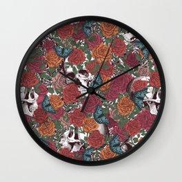 Roses, Skulls and Butterflies Wall Clock